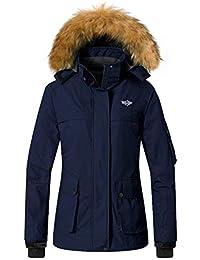 Wantdo Chaqueta para Mujer de Esquí Impermeable con Capucha de Pelo  Artificial Extraíble 9efb28e2873
