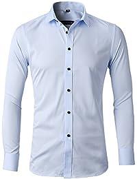 Camisa Bambú Fibra Hombre, Manga Larga, Slim Fit, Camisa Elástica Casual/Formal para Hombre