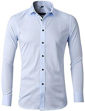 [Sponsorizzato]Harrms Camicia Elastica di bambù Fibra per Uomo, Slim Fit, Manica Lunga Casual/Formale