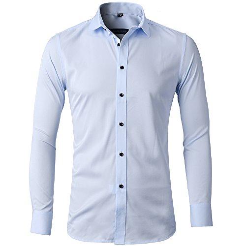 Camicia elastica di bambù fibra per uomo, slim fit, manica lunga casual/formale, celeste, 40 (collo 40cm, petto 104cm)