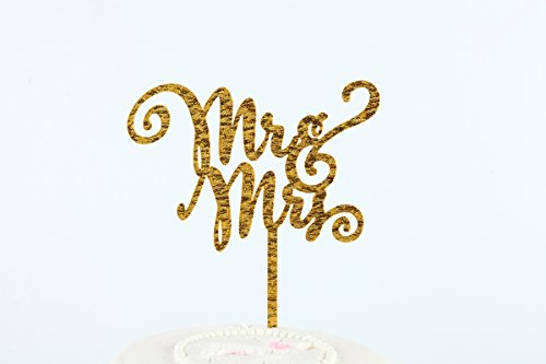Sugar and Cakes Cake Topper Torte Cupcake Deko MR & MRS Hochzeit Tortenaufsatz Tortenstecker Muffin Fondant Dekoration Acryl gold - Topper Cake Fondant