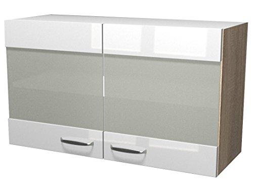 Flex-Well-00007844-Glas-Oberschrank-Valero-Hochglanz-wei-Sonoma-Eiche-100-x-548-x-32-cm