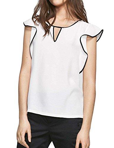 Frauen Für Rohr-shirts (Blooming Jelly Frauen Top Rüsche Ärmel Schlüsselloch Ausschnitt Weiß Elegante Casual Bluse)