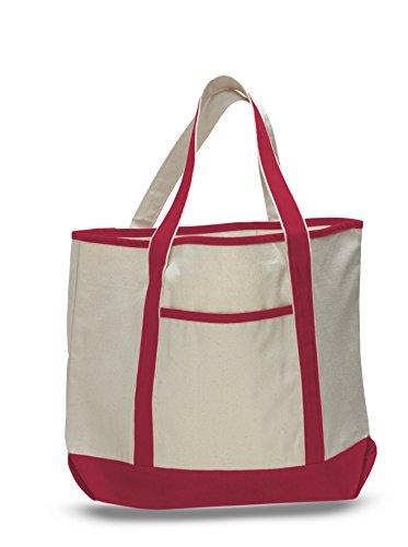 55,9cm geräumiges Durable Large Canvas Tote Bag w/Front Pocket Pool Strand Shopping Reise Tasche Umweltfreundlich rot (Tote Bag Großhandel)