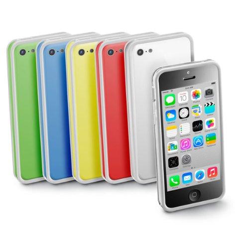 Cellular Line BUMPERIPH5CP Bumper Case für Apple iPhone 5C inkl. Folie/Microfasertuch/Staubentferner pink weiß