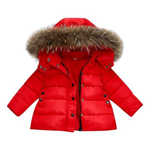 c3040b7e2b830 Chic-Chic Blouson Manteau Fourrure Chaud Enfant Garçon Fille Doudoune à  Capuche - Veste à Manches Longues Sport bébé Ski Vêtement (3-4ans, Rouge)