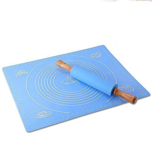 Inchant Gebäck Mat und Rolling Pin - Nonstick Gebäck Backen-Matte Silikon Maße Matte mit Silikon-Oberfläche Küche Holzgriff Teigrolle für Bäckerei und Konditorei Cooking (blau) Non Stick Rolling Mat