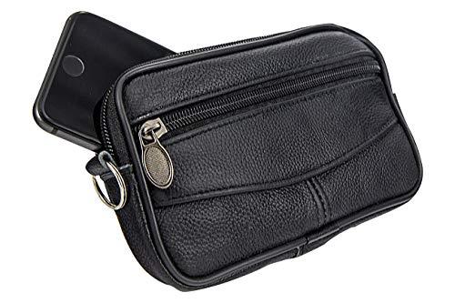 GÜRTELTASCHE Leder - mit Fach für Handy/Smartphone (EIN Hauptfach - schwarz)