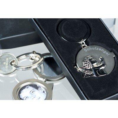 Aufklappbarer Schlüssel-Anhänger Schutzengel mit Schriftzug & Schutzengelrelief vorne und Magnetverschluß - innen mit Spiegel & Fotorahmen