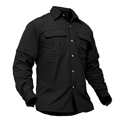 TACVASEN Militär Shirt Herren Armee Tactical Hemd Airsoft Paintball Long Sleeve T-Shirt Lange Ärmel Tee Top Schwarz