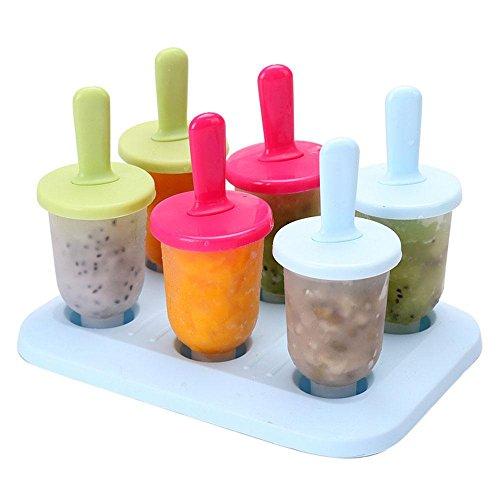 Aolvo 6Set Popsicles mit Tablett und dripguard Funktion wiederverwendbar Popsicle Formen Ice Pop Schimmel Maker für Erwachsene und Babys wiederverwendbar und waschbar Mixed Colors (Schimmel Popsicle Baby)