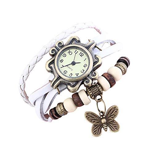 Demarkt Retro Vintage Damen Frauen Armbanduhr Armreif Uhr Schmetterling Design Anhänger Spangenuhr Quarzuhren (Weiß)