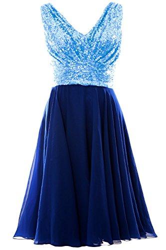 MACloth - Robe - Trapèze - Sans Manche - Femme Bleu - Sky Blue-Royal Blue
