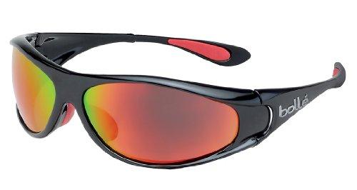 Bollé Spiral Occhiali da Sole Polarized TNS Fire Oleo AF, Nero (Shiny Black/Red)
