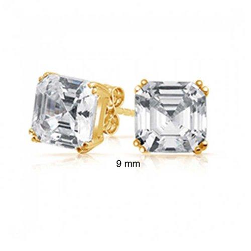 Bling Jewelry CZ Oro Vermeil Asscher Cut Orecchini argento 925 9 millimetri