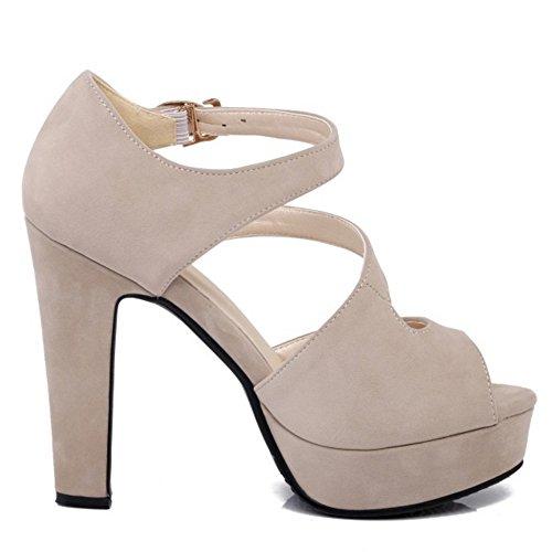 TAOFFEN Femmes Peep Toe Sandales Soiree Classique Plateforme Talons Hauts Chaussures De Boucle 639 Beige