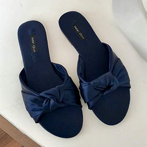 Yopaiya sandali donna,ciabatte da donna blu navy pantofole con fiocco in raso da donna summer slip on shoes donna piatti scivoli esterni sandali slipper, 39