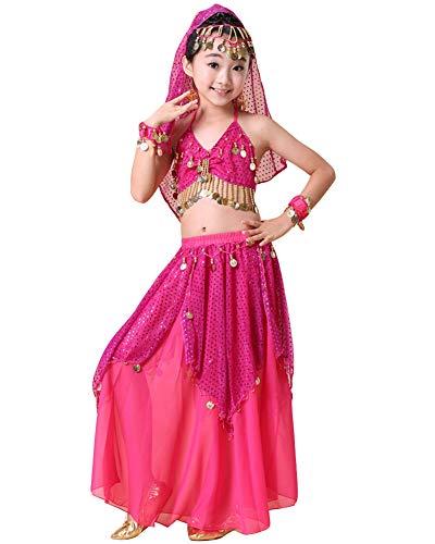 Kinder Mädchens Damen Indische Tanzkleid Crop Top Rock Bauchtänzerin Kostüme Rose OneSize Höhengeeignet 125-135CM (Indische Bauchtänzerin Kostüm)