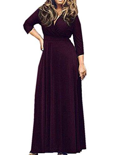 ZANZEA Femmes Grand Taille Col V Manches Longues Bandage Cocktail Robe Longue Maxi Robe Violet