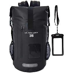Ultra Dry Adventurer Sac à dos étanche avec pochette étanche pour téléphone-Idéal pour bateau, kayak, pêche, rafting, natation, camping et snowboard, Noir , 35 L