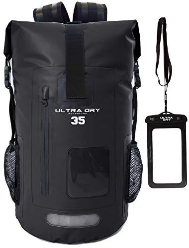 Premium-Rucksack, mit Telefon-Trockenbeutel, wasserdicht, perfekt für Boot-/Kajak-/Kanufahren, Angeln, Rafting, Schwimmen, Camping, Snowboarden., Schwarz , 35 L