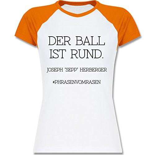 EM 2016 - Frankreich - Der Ball ist rund - zweifarbiges Baseballshirt / Raglan T-Shirt für Damen Weiß/Orange