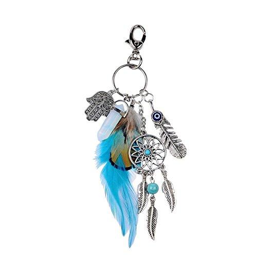 Outflower Porte-clés Créatif Attrape-Rêves Design Mignon Pour Key Bag Ornements Petit Souvenir Anniversaire Cadeau Porte-clés de Voiture(Bleu)
