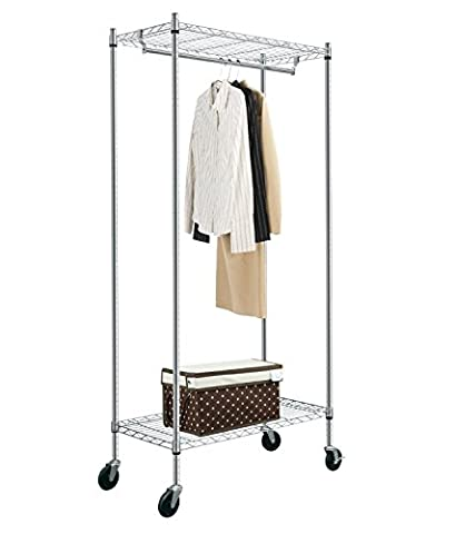 HLC 2 Tier Metal Heavy Duty Clothes Rail With Wheels Shelves