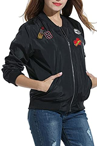 CRAVOG Femmes Broderie Veste Bomber de Sport Jacket Vintage Velo Motard Fermeture Éclair Blouson Manteau Elégant