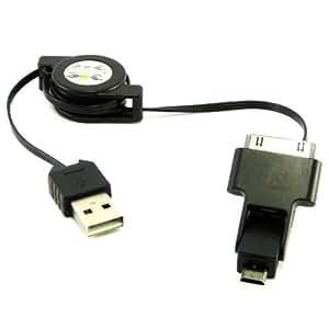 Acce2S - CABLE USB NOIR pour SAMSUNG XCOVER 3 G388 RETRACTABLE 3 EN 1