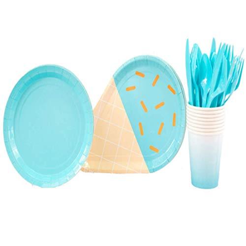 me Pastell Party Pappteller Becher Besteck Leuchtende Farben 8 Pack 38-TLG. - Blau, 9 inch ()
