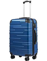 COOLIFE Hartschalen-Koffer Rollkoffer Reisekoffer Vergrößerbares Gepäck (Nur Großer Koffer Erweiterbar) ABS Material mit TSA-Schloss und 4 Rollen