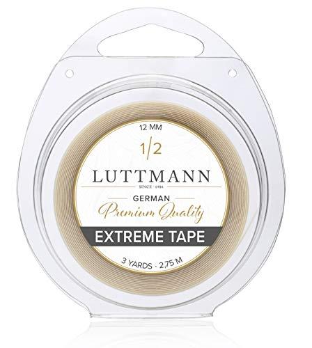 LUTTMANN Extreme Tape - 12 mm Premium Quality Extreme Hold nastro adesivo Lace front trasparente per sistemi di capelli, parti di capelli, parrucche, Toupets & Extensions