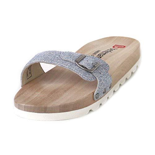(Berkemann Damen Hippie-NO-Sandale Pantoletten, Blau (Jeans/Silber 311), 38 EU)