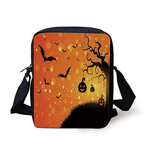 ntastic Evil Night Icons Swirled Branches Haunted Forest Hill Decorative,Orange Yellow Black Print Kids Crossbody Messenger Bag Purse ()
