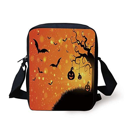 CBBBB Halloween,Magical Fantastic Evil Night Icons Swirled Branches Haunted Forest Hill Decorative,Orange Yellow Black Print Kids Crossbody Messenger Bag Purse
