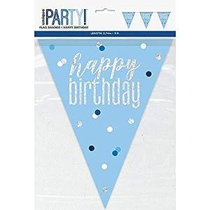 Unique Party- Bandera, Color blue & silver (83434)