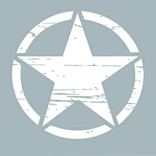Auto Aufkleber ARMY Militär Stern Sticker Wandtattoo Wandaufkleber USA Star Armee Amerika (M 50cm x 50cm, Weiß) -