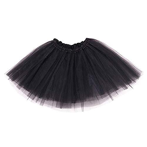 Ruiuzi Damen Tütü Rock Minirock 4 Lagen Petticoat Tanzkleid Dehnbaren Mini Skater Tutu Rock Erwachsene Ballettrock Tüllrock für Party Halloween Kostüme Tanzen (schwarz)