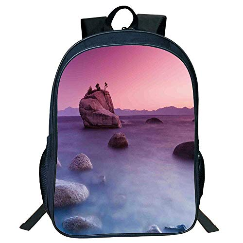 HOJJP Schultasche Stylish Unisex School Students Black Lake,Bonsai Rock Floating on Misty Lake Habitat Exquisite Wonders Dreamy Space Landscape,Pink Blue Kids, - Bonsai Rock