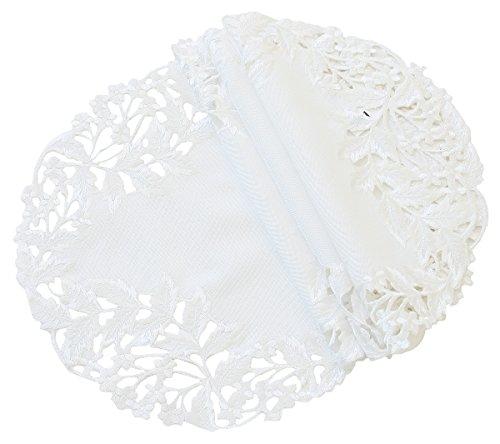 Xia Home Fashions Arietta bestickt Durchbrucharbeit Spring Deckchen, 12Zoll rund, weiß, 4Stück, weiß, 12-Inch Round (Elfenbein Deckchen)