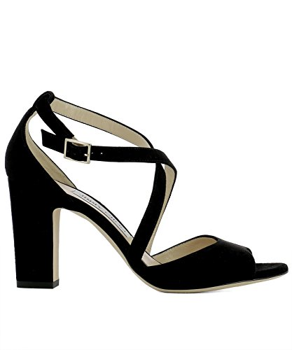 Jimmy-Choo-Womens-CARRIE85SUEBLACK-Black-Suede-Sandals