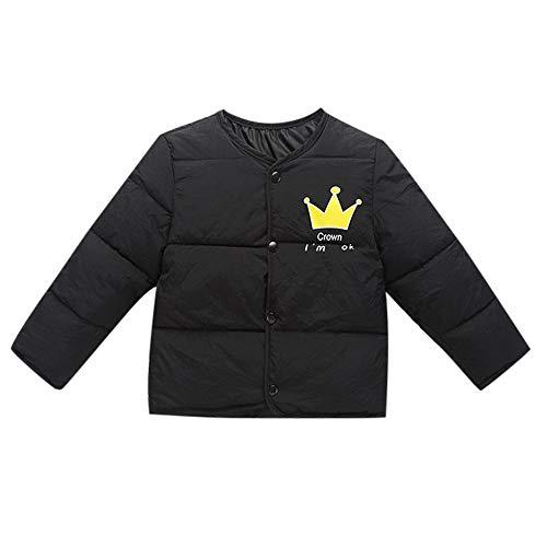 Kobay Kinder Baby Mädchen Jungen Winter Crown Brief Gedruckt Karikatur Winter Unten Baumwolle Liner Mantel Jacke Warme Oberbekleidung(18-24M,Schwarz) -