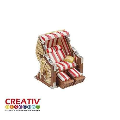 Creative Discount Mini- Strandkorb Rot-Weiß, ca. 6,5 x 6,5 x 5cm