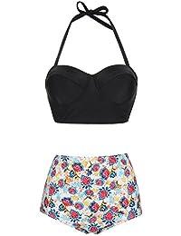 Lover-Beauty Damen Sport Push up Bikini Sets hohe taille Badeanzug Bademode Tankini