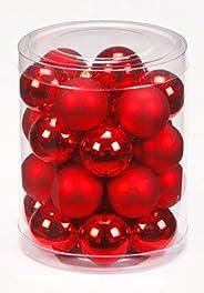 Inge-glas 1202D001 - Barattolo 28 Palle Decorative per Albero di Natale, 30 mm, Colore: Rosso Lucido/Opaco