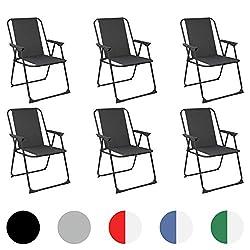 Harbour Housewares Folding Metal Beach Garden Camping Armchair - Black - Pack of 6