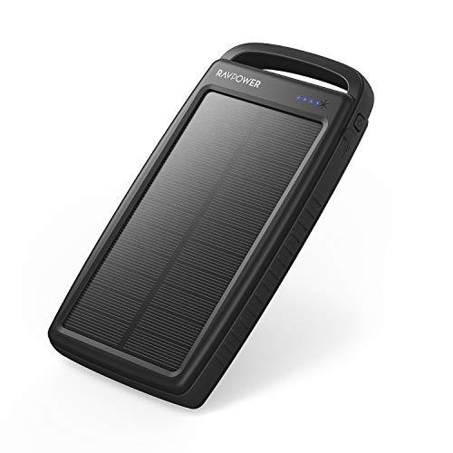 RAVPower Solarladegerät, 20000 mAh, tragbares Ladegerät, Solar-Powerbank,