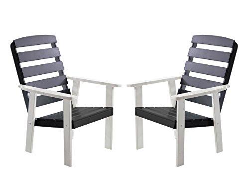 Ambientehome , Meuble de Jardin Set de 2 fauteuils en Bois Massif Hanko, Couleur Blanc/Gris