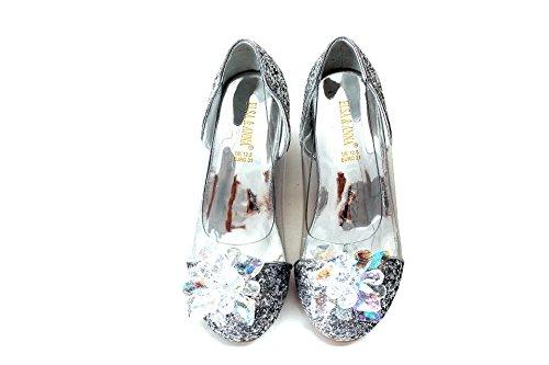 ELSA & ANNA® Mädchen Gute Qualität Schuhe Prinzessin Schnee Königin Gelee Partei Schuhe Sandalen SIL15-SH (Euro 34 - Innenlänge: 22.5cm, - Frozen Elsa Schnee Königin Kostüm